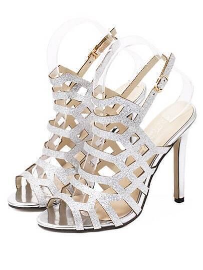 Sandalias de tacón alto peep toe recorte -plata