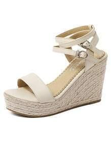 Apricot Double Ankle Straps Espadrilles Wedge Sandals