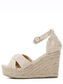 Crisscross Crochet Straps Espadrilles Wedge Sandals