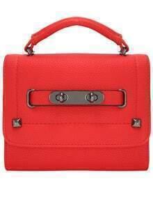 Red Double Turn Locks Flap Bag