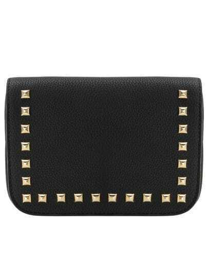 Black Studded Snap Button Flap Bag
