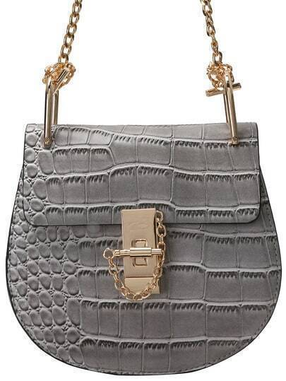 Grey Crocodile Embrossed Chain Saddle Bag