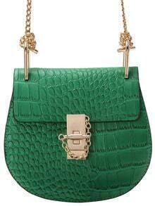 Green Crocodile Embrossed Chain Saddle Bag