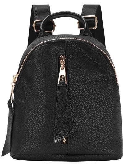 Black Zip Top Backpack