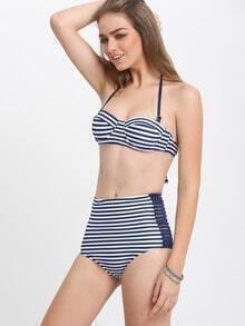Halter Cutout Striped Retro Bikini Set