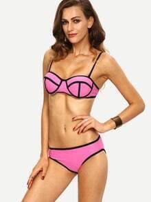 Color Block Zipper Featrued Cutout Bikini Set