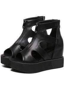Peep Toe Cut Out Platform Sandals
