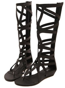 Black Laser Cut Gladiator Sandals