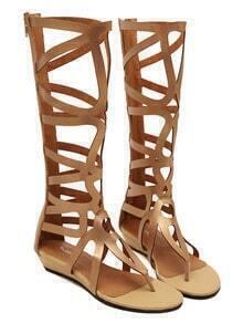 Golden Laser Cut Gladiator Sandals