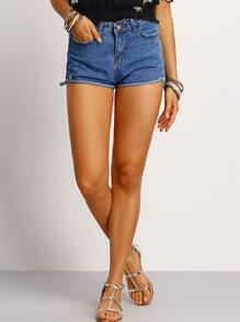 Blue Crimping Denim Shorts