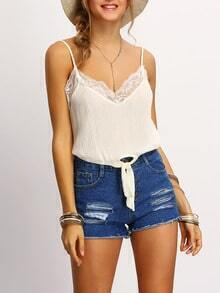 White Spaghetti Strap Lace Insert Knotted Cami Top