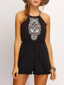 Black Halter Embroidered Flounce Hem Romper With Drawstring