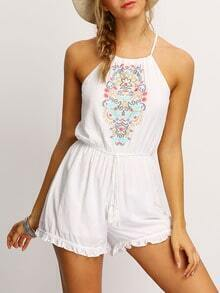 White Halter Embroidered Flounce Hem Romper With Drawstring