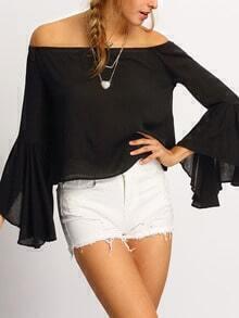 Black Off The Shoulder Bell Sleeve Shirt