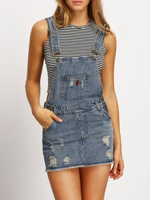 Straps Ripped Frayed Denim Braces Dress