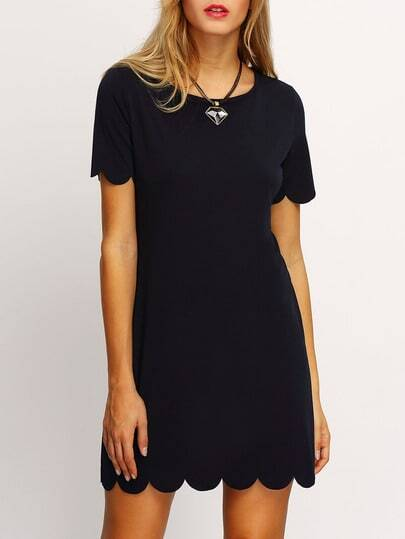 Scalloped Hem Keyhole Back Dress