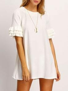 White Ruffle Sleeve A-Line Dress