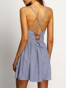 Crisscross Back Striped Lace Up A-Line Dress