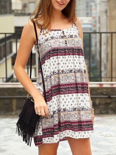Tribal Print Buttons Cami Dress