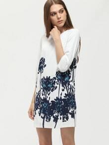 Flower Print Dress With Zipper