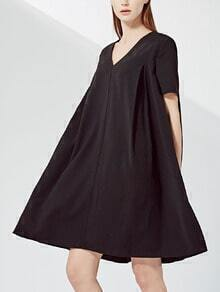 Black V Neck A-Line Dress