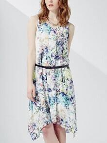 Sleeveless Florals Split Side Dress