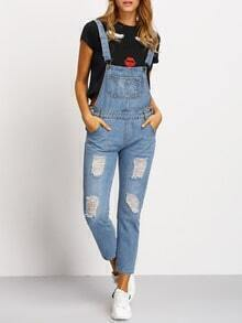 Distressed Bib & Brace Jeans Jumpsuits