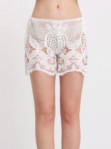 White Scalloped Crochet Cover Up Shorts