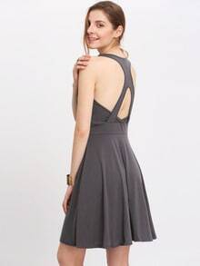 Grey Cut Out A-Line Dress