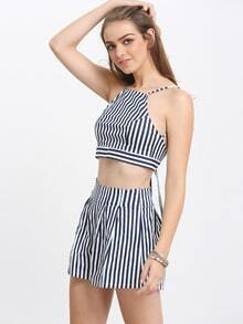 Crisscross Back Vertical Striped Top With Shorts
