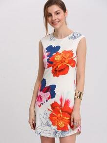 Multicolor Cap Sleeve Floral Print Mini Dress