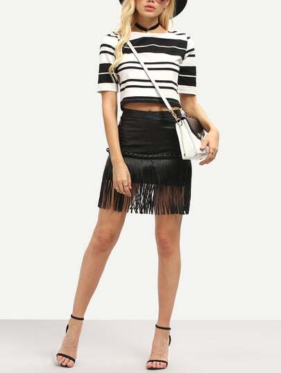 White Black Half Sleeve Striped Crop Top pictures