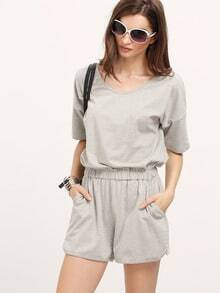 Grey V-neck Elasticized Wasit Loose Jumpsuit