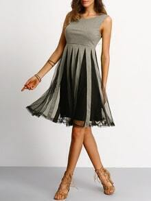 Grey Black Sleeveless Pleated Dress