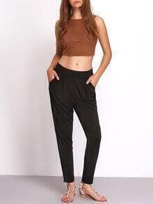 Black Elasticize Waist Pockets Pant