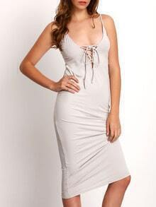 Grey Spagettic Strap Lace Up Sheath Dress