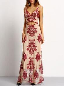 Burgundy Embroidery Cut-out Waist Tie Back Maxi Dress