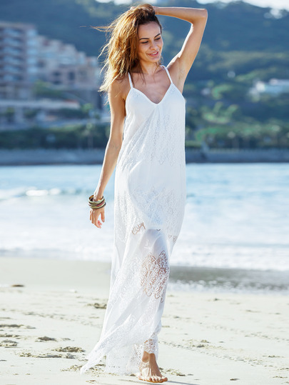 Cream Deep V Neck Split Slip Maxi Dress