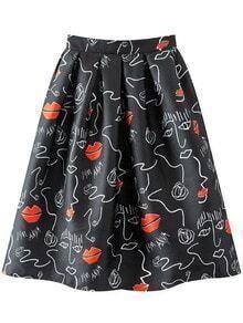 Multicolor Lips Fun Print Flare Skirt