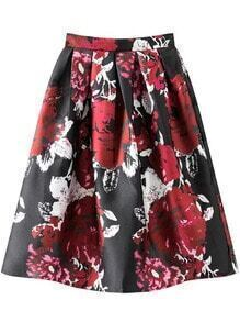 Multicolor Floral Print Pleated Flare Skirt