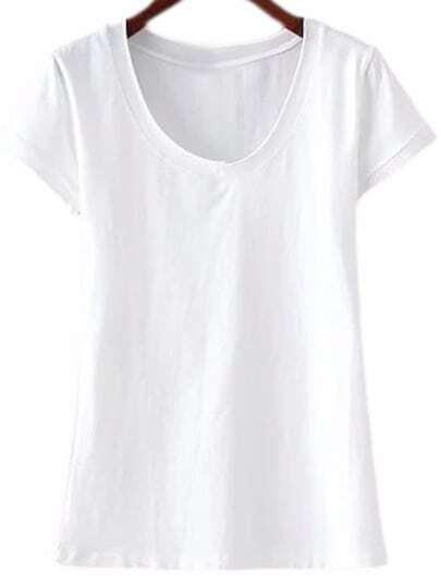 White Short Sleeve V Neck Casual T-shirt
