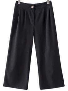 Black Fake Pocket Back Wide Leg Pants