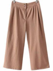Brown Fake Pocket Back Wide Leg Pants