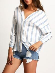 Dropped Shoulder Seam Vertical Striped Blue Blouse