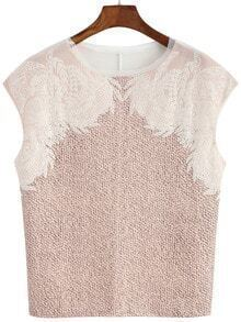 Contrast Lace Pink Tank Top
