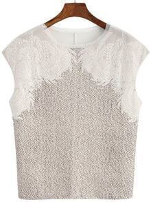 Contrast Lace Apricot Tank Top