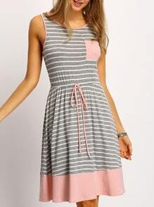 Grey Pink Sleeveless Tie Waist Striped Ruffle Dress