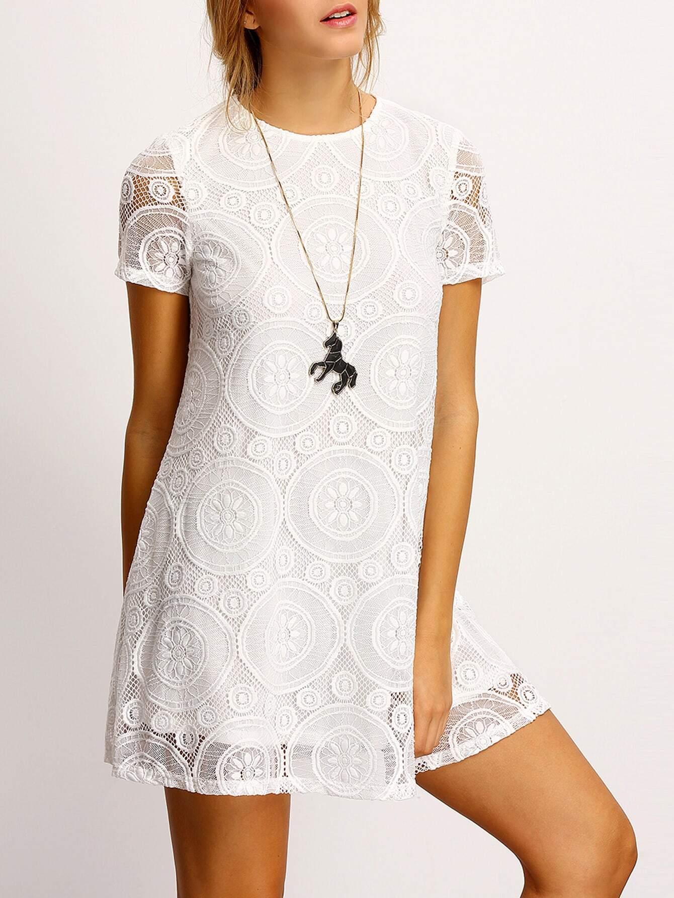 Фото Crew Neck Sheer Floral Lace Dress. Купить с доставкой