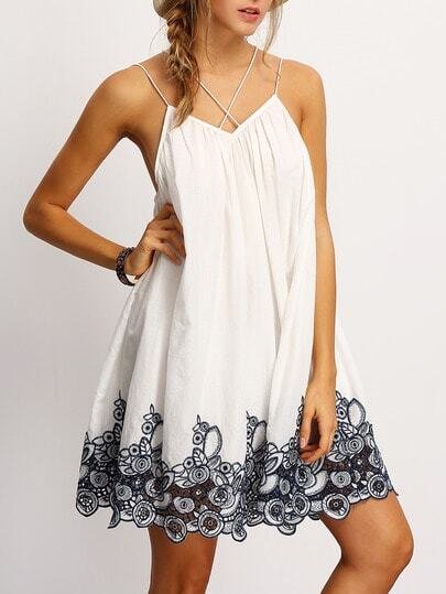 Cami Straps Flower Embroidered Accent Dress