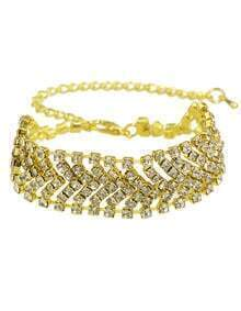 Gold Elegant Wide Rhinestone Bracelet